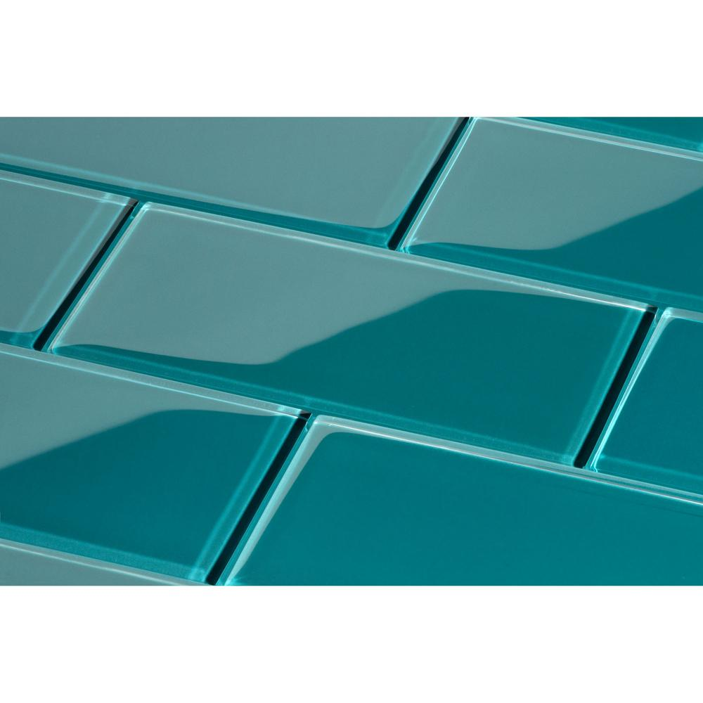 Giorbello Dark Teal Subway 3 in. x 6 in. x 8mm Glass Backsplash and ...