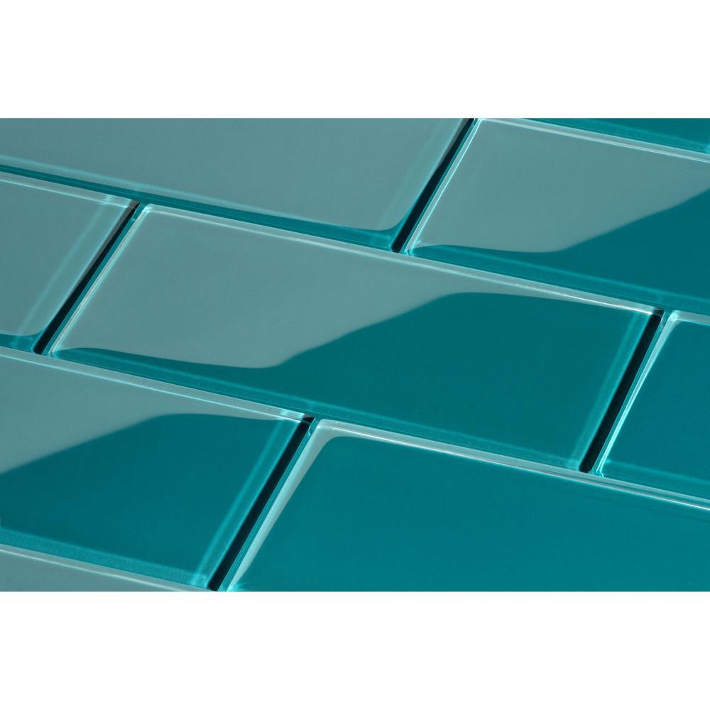 Giorbello Dark Teal 3 in. x 6 in. x 8 mm Glass Subway Tile (5.5 sq.  ft./case)