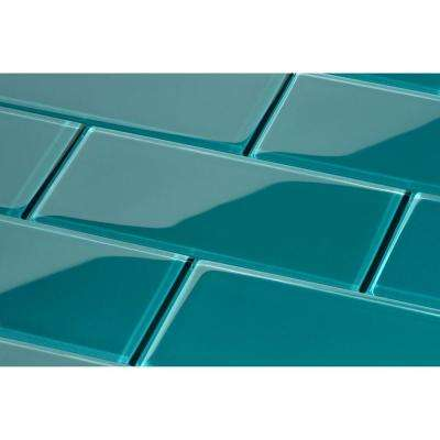 Dark Teal Subway 3 in. x 6 in. x 8mm Glass Backsplash and Wall Tile (5.5 sq. ft. / case)
