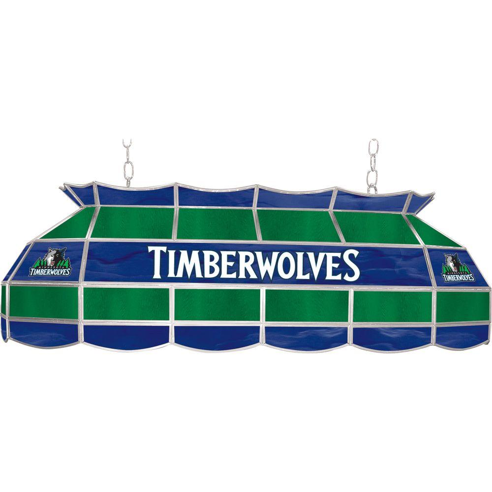 NBA Minnesota Timberwolves NBA 3-Light Stained Glass Hanging Tiffany Lamp