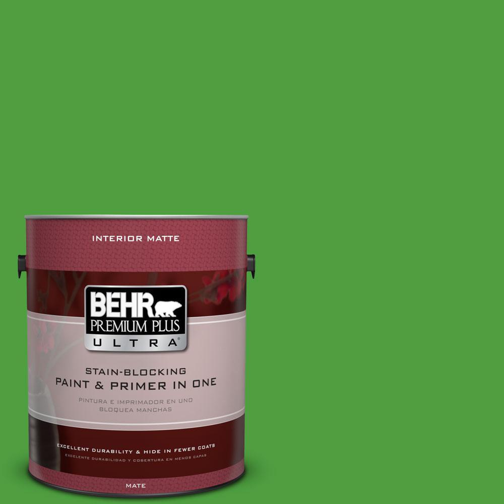 BEHR Premium Plus Ultra 1 gal. #S-G-440 Green Acres Flat/Matte Interior Paint