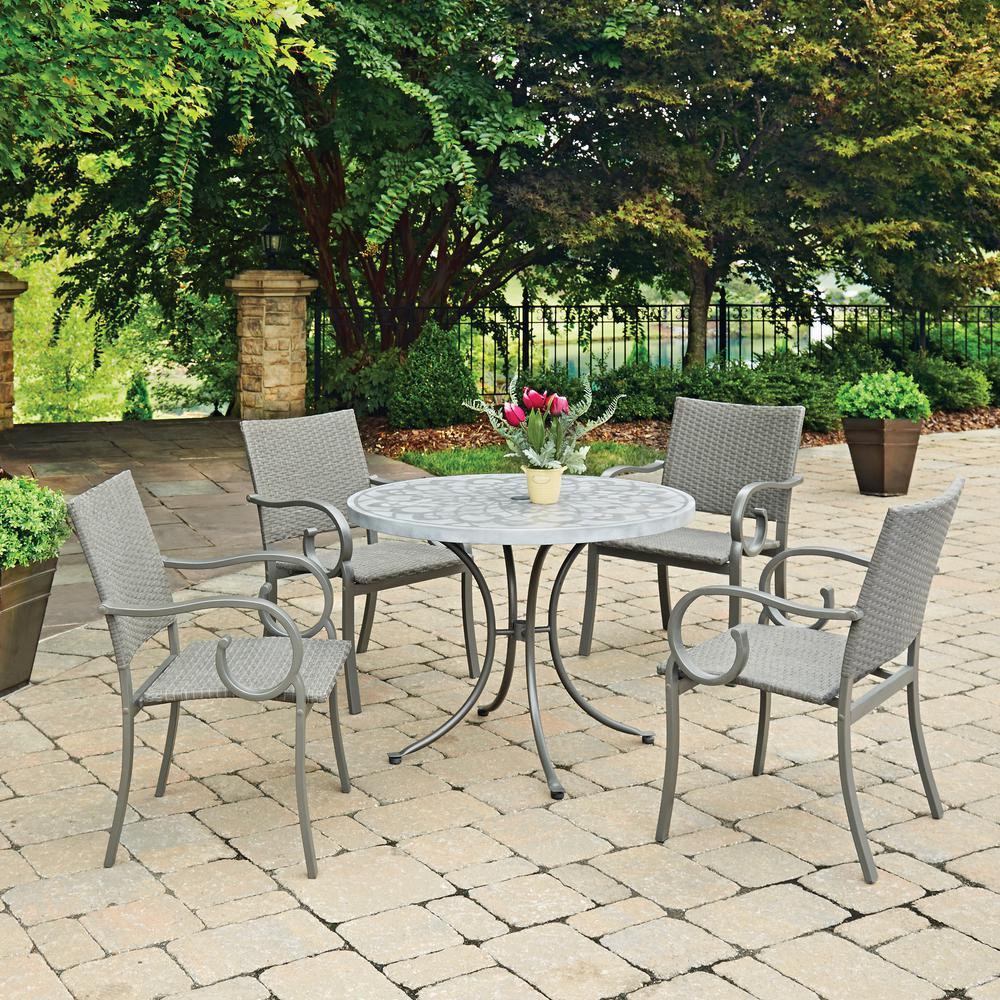 Concrete Outdoor Kitchen Countertops: Home Styles Capri 5-Piece Concrete Outdoor Dining Set-5610