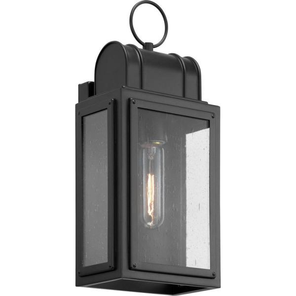 Landstone 1-Light 13.5 in. Matte Black Outdoor Wall Lantern with Clear Glass
