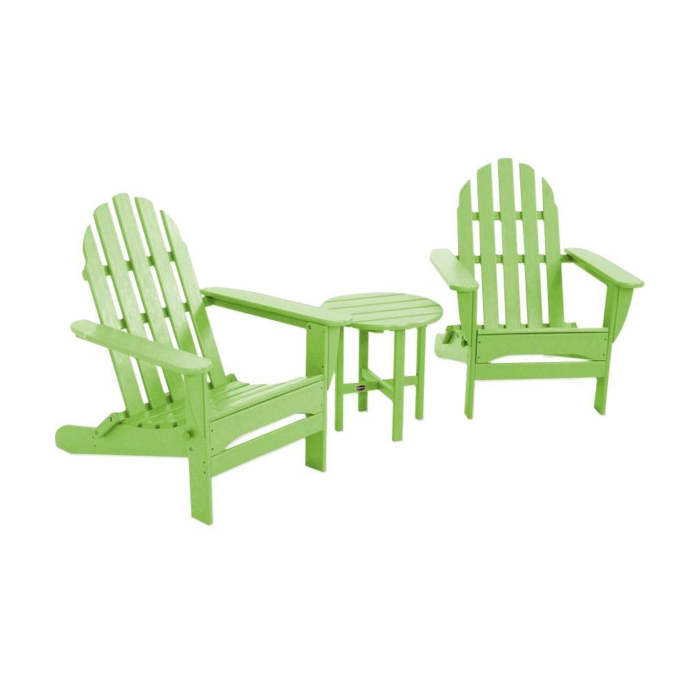 Classic Folding Lime 3-Piece Adirondack Patio Seating Set