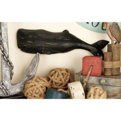 26 in. x 8 in. Rustic Black Polystone Whale Wall Plaque