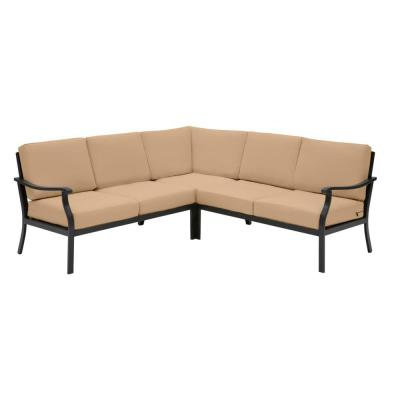 Riley 3-Piece Black Steel Outdoor Patio Sectional Sofa with CushionGuard Toffee Tan Cushions