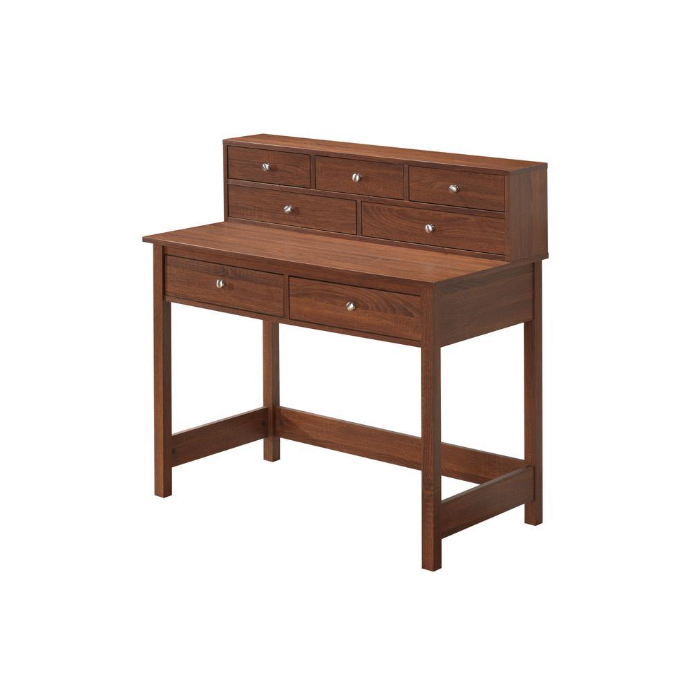 Oak Elegant Writing Desk with Storage and Hutch