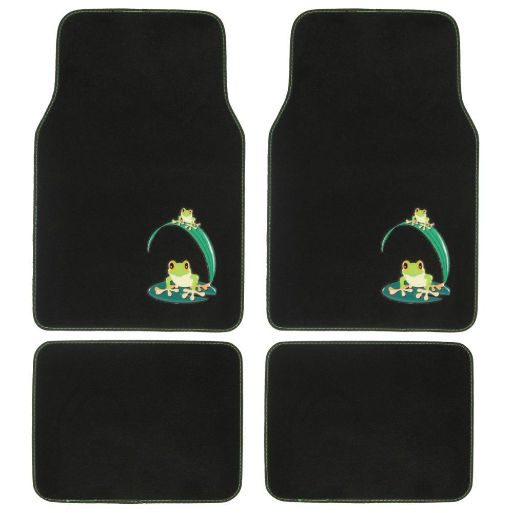 BDK Green Frog MT-512 Design 4 Pieces Carpet Car Floor Mats by BDK