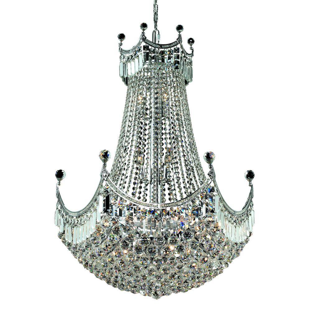 Elegant lighting 24 light chrome chandelier with clear crystal elegant lighting 24 light chrome chandelier with clear crystal arubaitofo Image collections