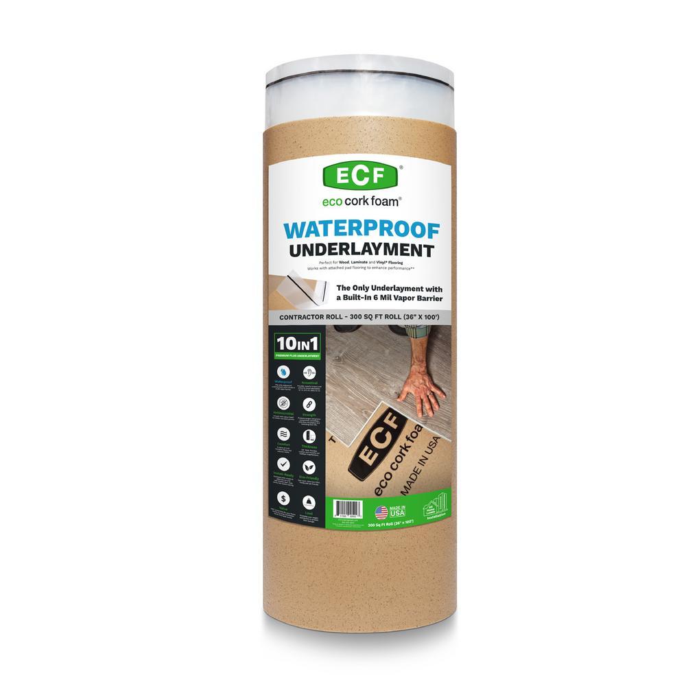 300 sq. ft. 3 ft. x 100 ft. x 3.2 mm Waterproof Premium Plus 10-in-1 Underlayment for Vinyl Laminate & Engineered Floors