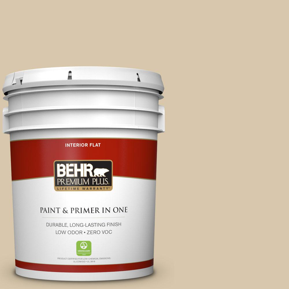 BEHR Premium Plus 5-gal. #ECC-54-1 New Khaki Zero VOC Flat Interior Paint