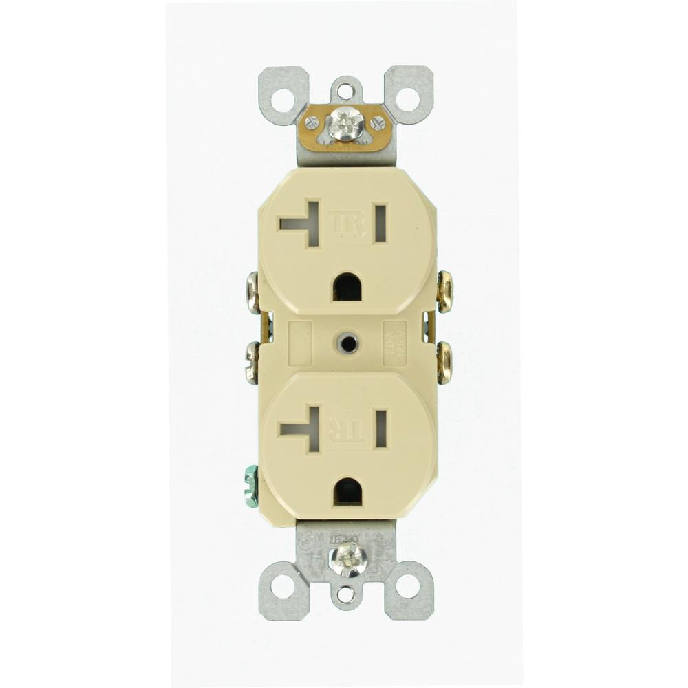 Leviton 20 Amp Tamper Resistant Duplex Outlet, Ivory-R51-T5820-0IS ...