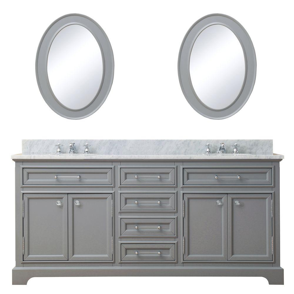 Water Creation 72 in. W x 21.5 in. D Vanity in Cashmere Grey with Marble Vanity Top in Carrara White, Mirror and Chrome Faucets