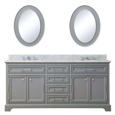 72 in. W x 21.5 in. D Vanity in Cashmere Grey with Marble Vanity Top in Carrara White, Mirror and Chrome Faucets