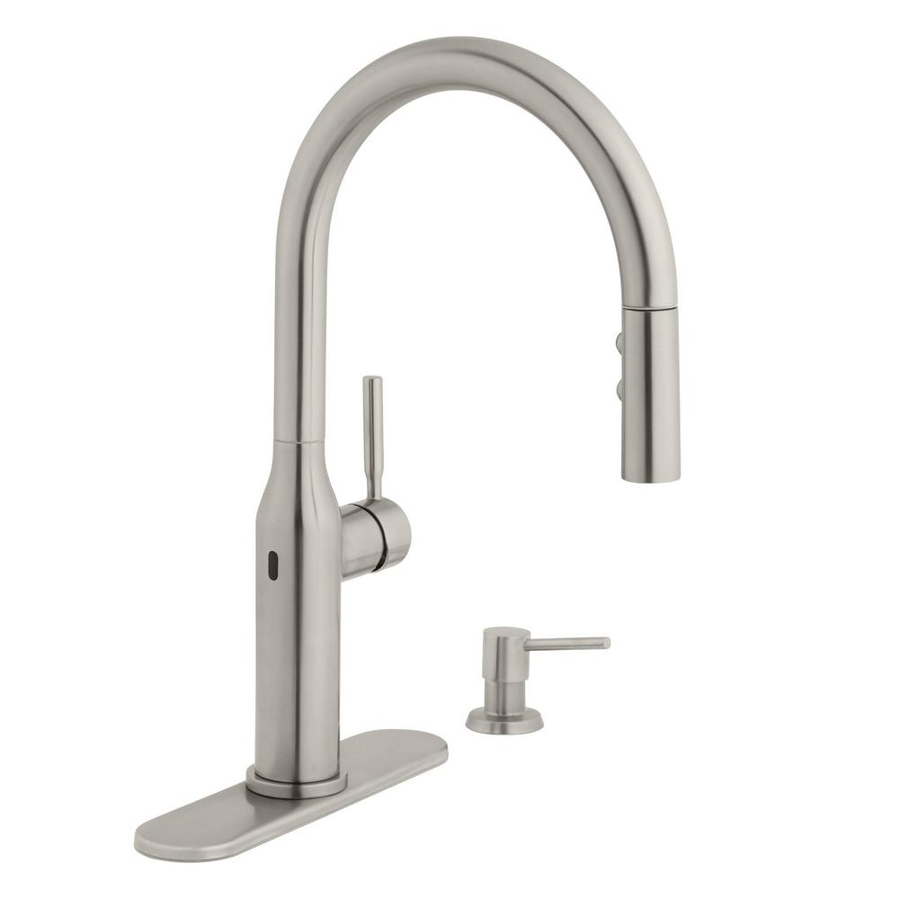 Glacier Bay Upson Single Handle Touchless Pull Down Kitchen Faucet With Turbospray And Fastmount And Soap Dispenser In Stainless Hd67857 0008d2 The Home Depot