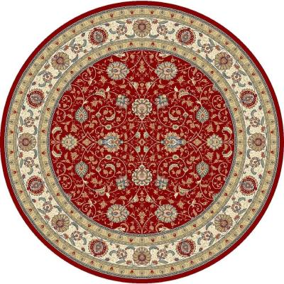 Vaughan Red/Ivory 8 ft. x 8 ft. Round Indoor Area Rug