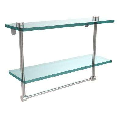 16 in. L  x 12 in. H  x 5 in. W 2-Tier Clear Glass Vanity Bathroom Shelf with Towel Bar in Polished Chrome