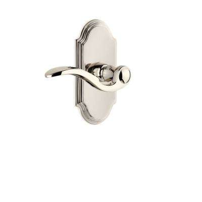 Grandeur Arc Plate 2 3 8 In Backset Polished Nickel Privacy Bed Bath With Bellagio Door Lever 811588 The Home Depot