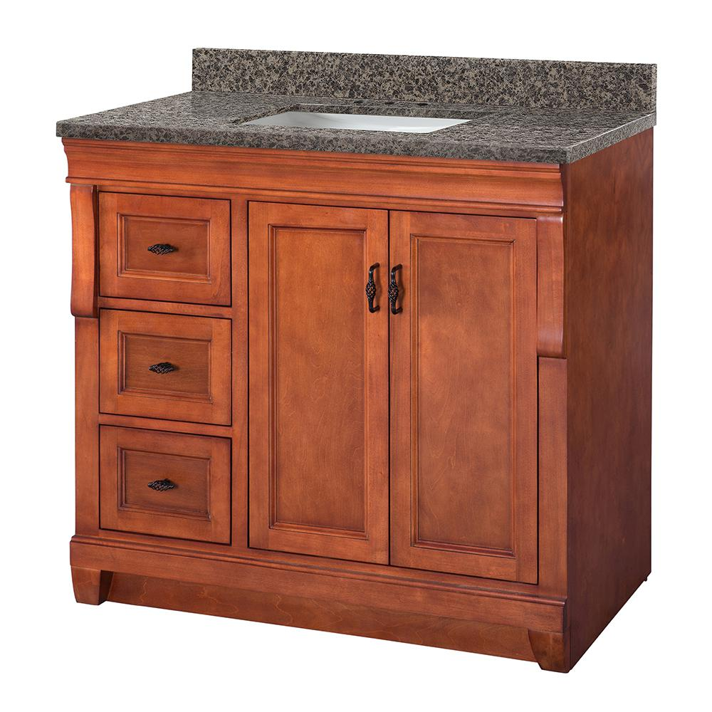 Home Decorators Collection Naples 37 in. W x 22 in. D Vanity in Warm Cinnamon with Granite Vanity Top in Sircolo with Sink in White