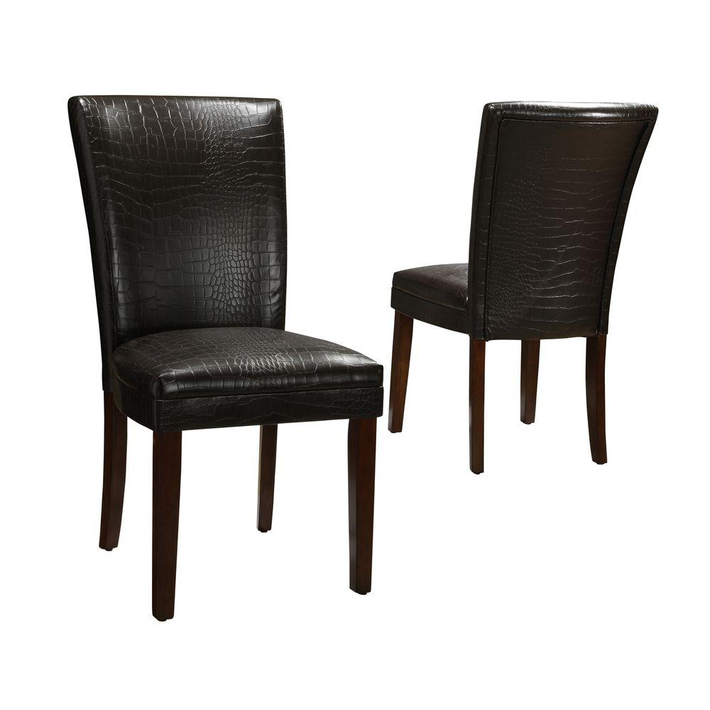Home Decorators Collection 18 in. H Dark Brown Faux-Alligator-Leather Side Chairs (Set of 2)-DISCONTINUED