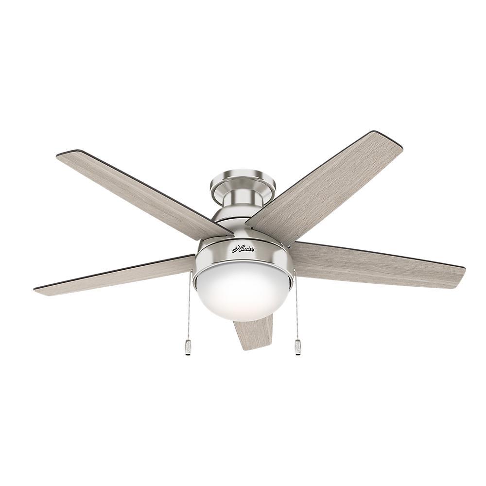 Hunter Parmer 46 inch LED Indoor Brushed Nickel Flush Mount Ceiling Fan by Hunter