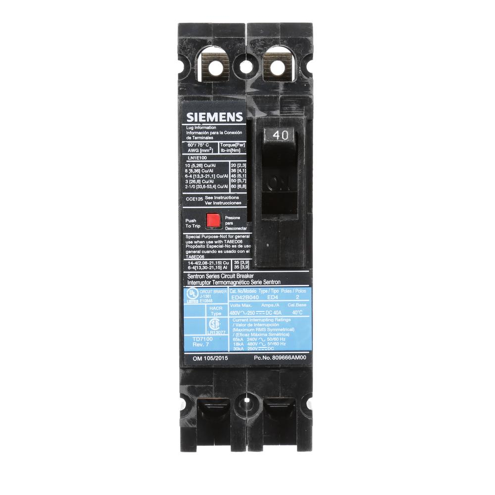siemens 40 amp 2 pole type ed 18 ka circuit breaker. Black Bedroom Furniture Sets. Home Design Ideas