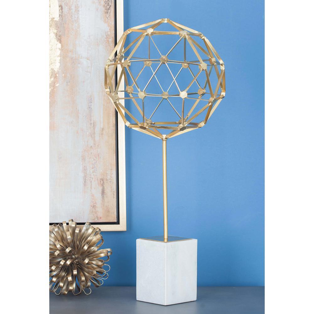 25 in. Nucleus Sphere Decorative Sculpture in Gold