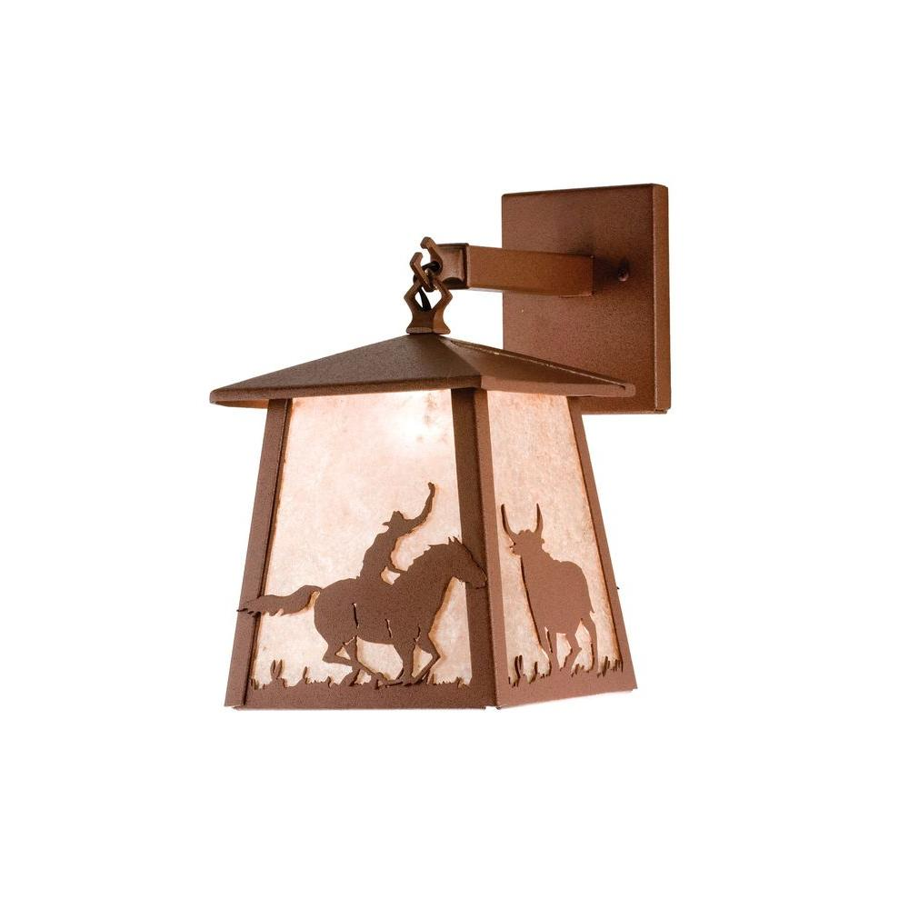 Illumine 1 Light Cowboy and Steer Hanging Pendant Rust Finish Mica Glass