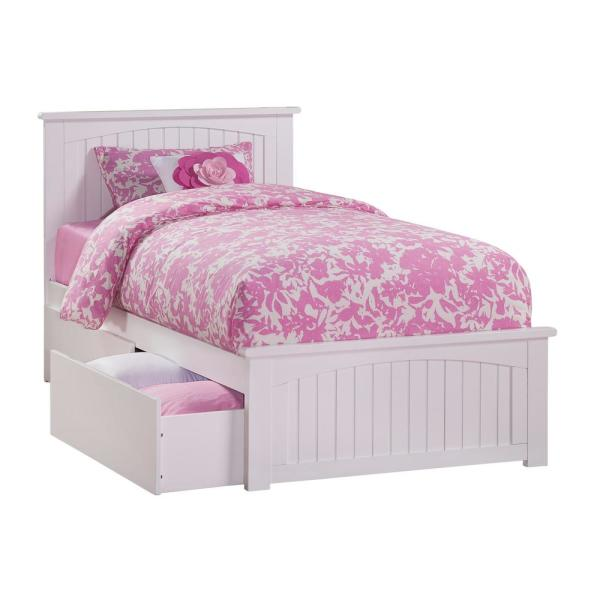 Atlantic Furniture Nantucket White Twin Platform Bed with Matching Foot Board