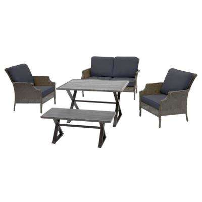 Grayson 5-Piece Ash Gray Wicker Outdoor Patio Dining Set with CushionGuard Midnight Navy Blue Cushions