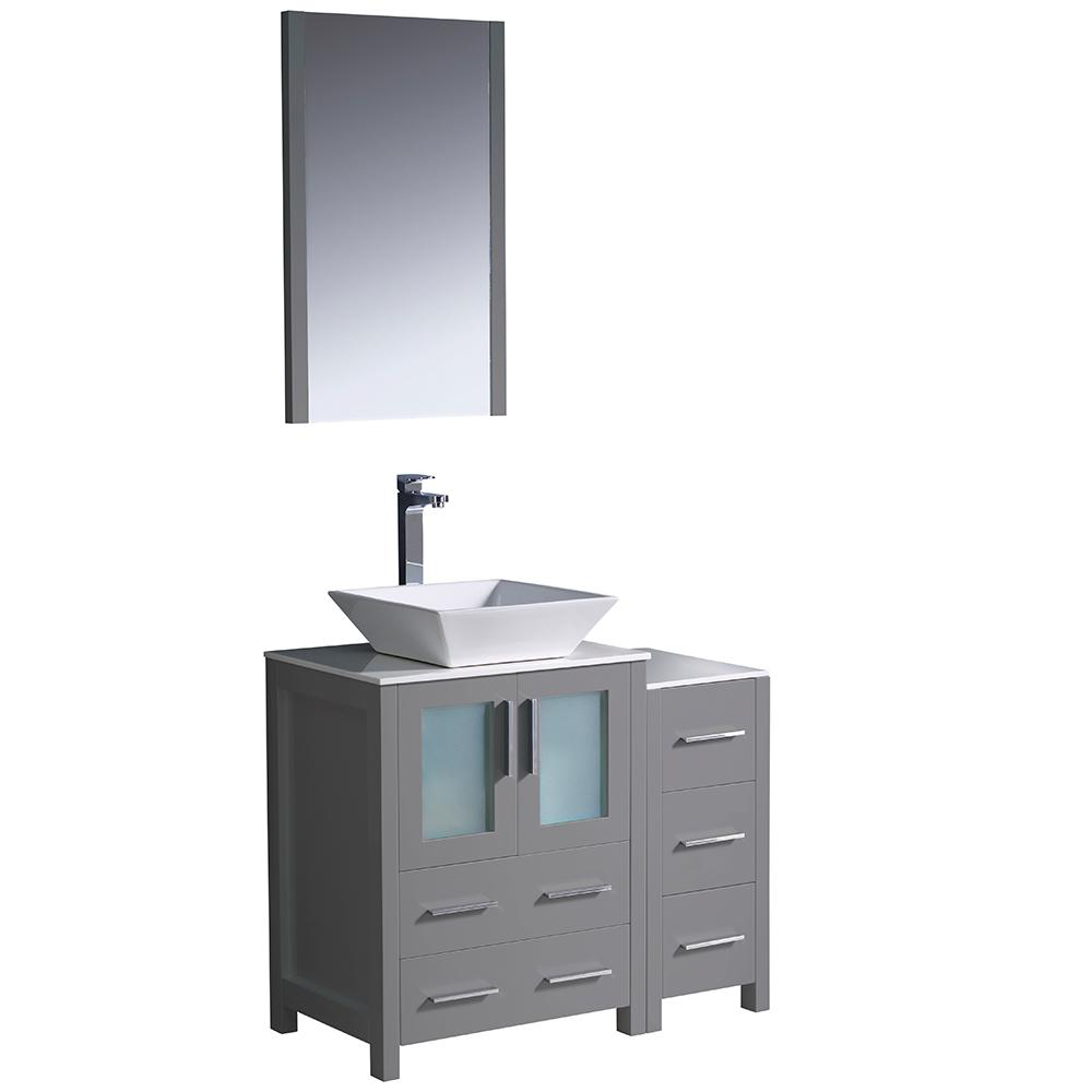 Torino 36 in. Bath Vanity in Gray with Glass Stone Vanity