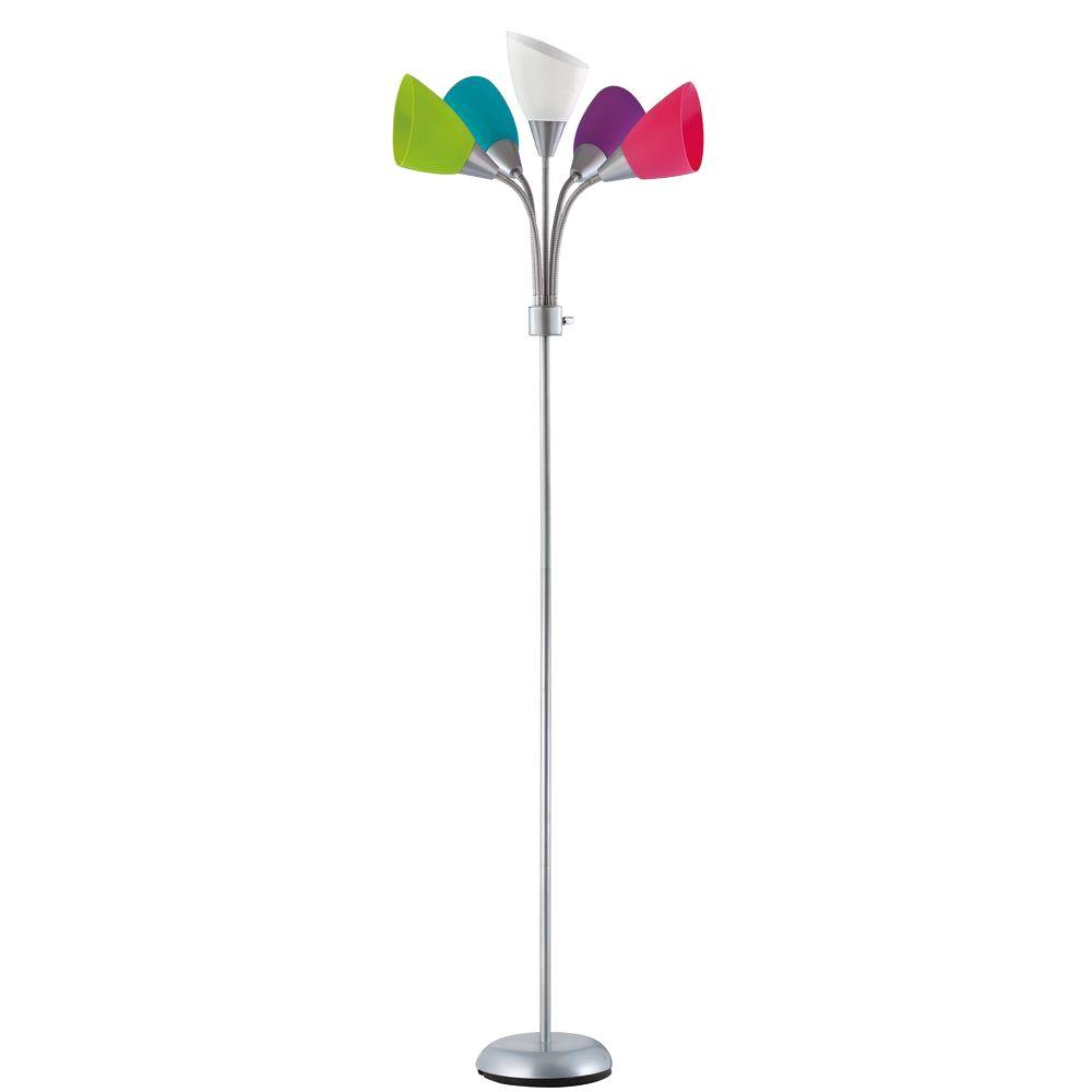 null Design Trends 40-Watt 67.5 in. Contemporary Silver Grey Adjustable Floor Lamp