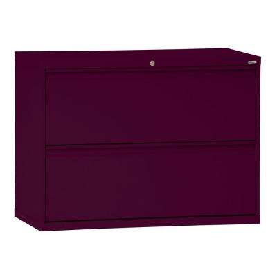 800 Series 36 in. W 2-Drawer Full Pull Lateral File Cabinet in Burgundy