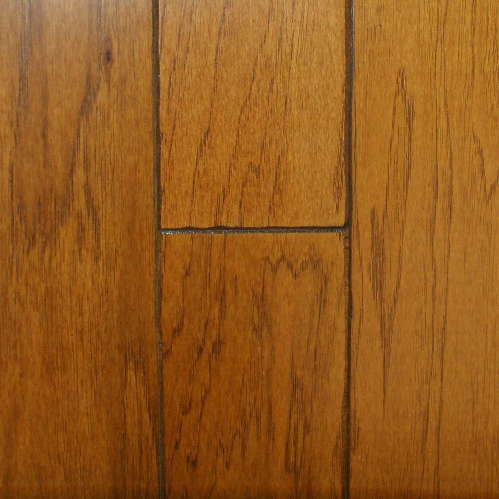 Millstead Hickory Golden Rustic 3/8 in. Thick x 4-3/4 in. Wide x Random Length Engineered Click Hardwood Flooring (33 sq.ft./case), Medium