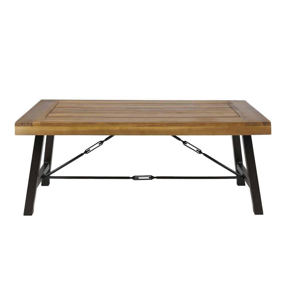 Catriona Rustic Metal Frame Rectangular Teak Brown Wood Outdoor Coffee Table