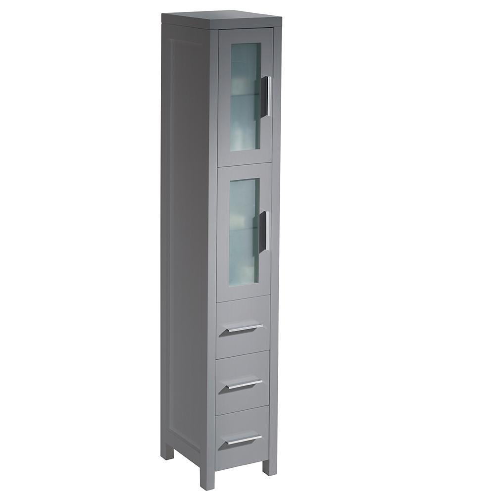 Torino 12 in. W x 15 in. D x 68.13 in. H  Bathroom Linen Storage Tower Cabinet in Gray