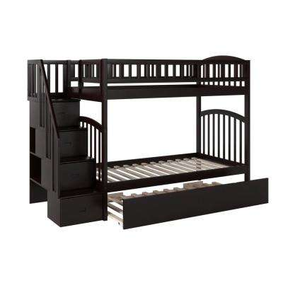 Westbrook Espresso Twin Over Twin Staircase Bunk with Twin Size Urban Trundle Bed