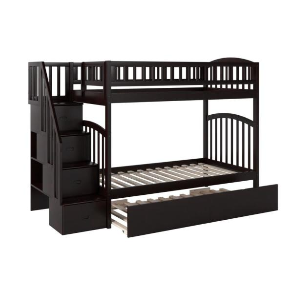 Atlantic Furniture Westbrook Espresso Twin Over Twin Staircase Bunk with Twin Size Urban Trundle Bed