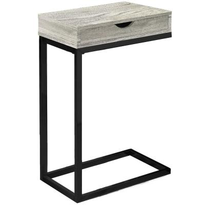Jasmine 24.5 in. Grey and Black Wood End Table