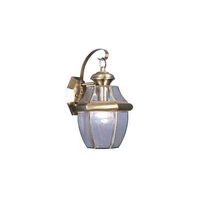1-Light Antique Outdoor Brass Wall Lantern