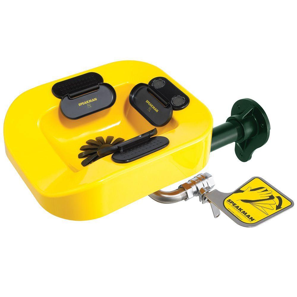 Speakman SE-1100 Optimus Pedestal-Mounted Emergency Eye and Face Wash Station Yellow Bowl