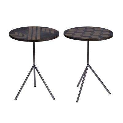 16 in. Farrin Silver Round Side Table