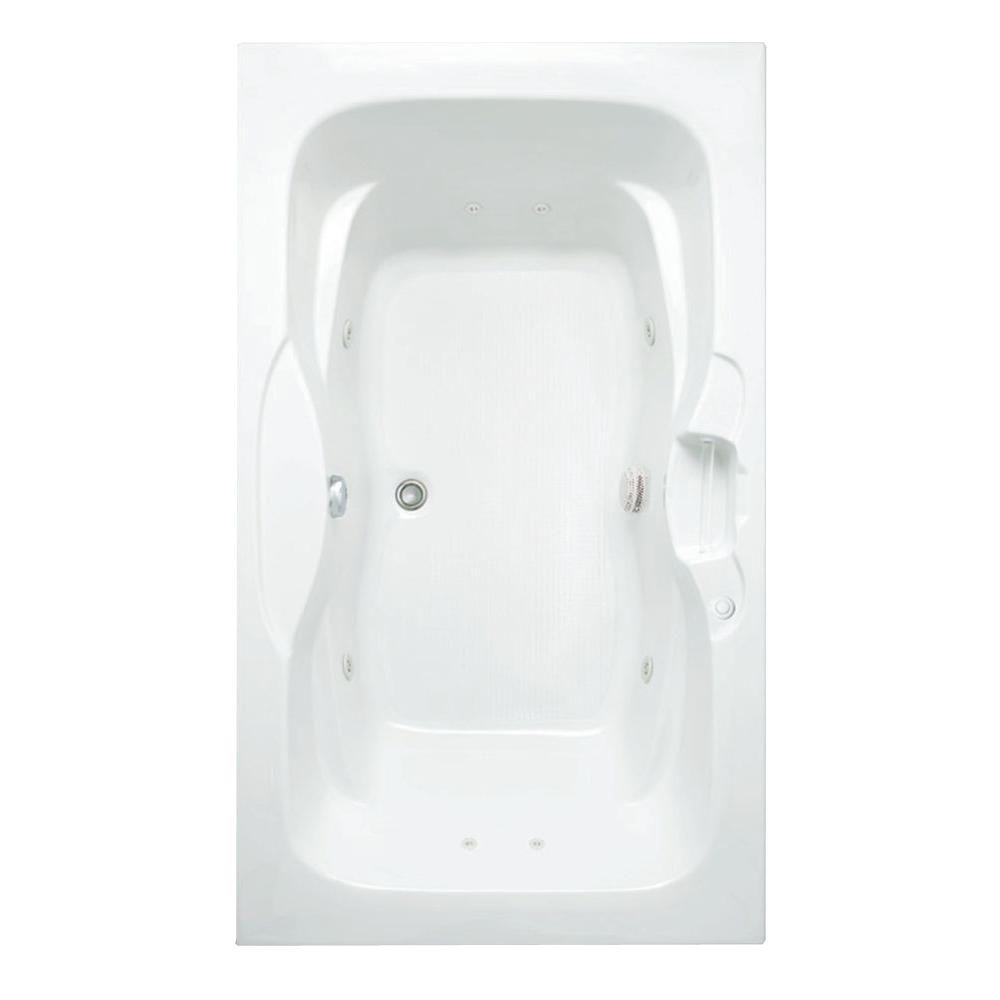 Aquatic Morice 6 ft. Acrylic Center Drain Rectangular Drop-in Whirlpool Bathtub with Heater in White