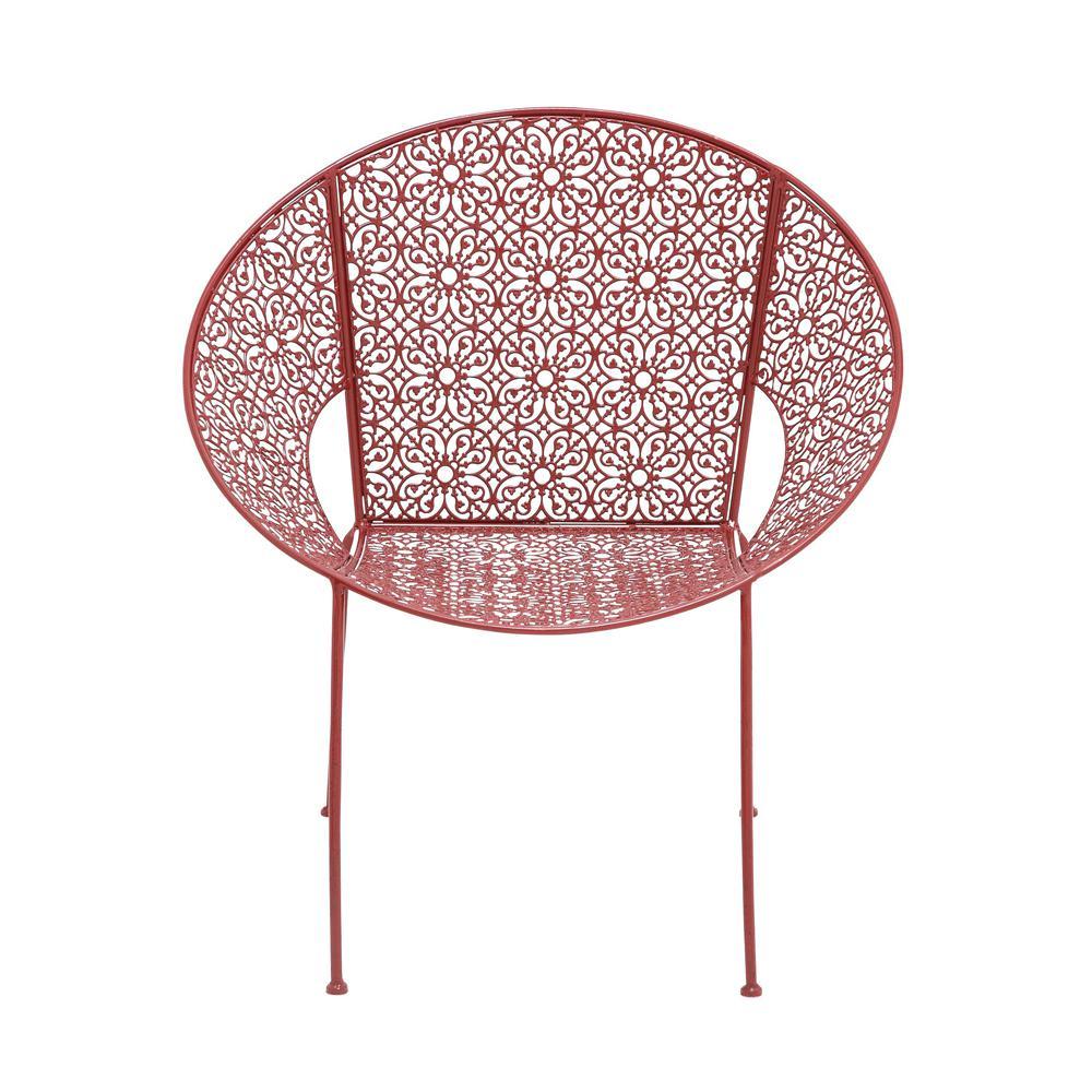 Amazing Litton Lane 30 In X 27 In Modern Iron Red Garden Chair Machost Co Dining Chair Design Ideas Machostcouk