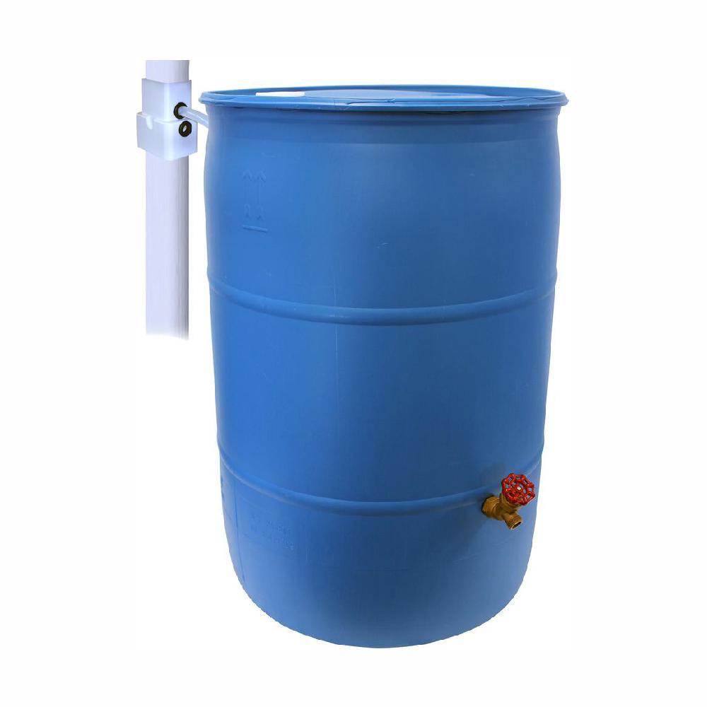 Emsco 55 Gal Paintable Blue Plastic Drum Diy Rain Barrel