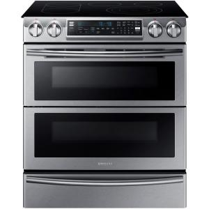 Samsung Flex Duo 5.8 cu. ft. Slide-In Double Oven Electric Range with Self-Cleaning Convection Oven in Stainless Steel by Samsung