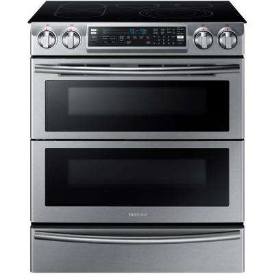 Flex Duo 5.8 cu. ft. Slide-In Double Oven Electric Range with Self-Cleaning Convection Oven in Stainless Steel