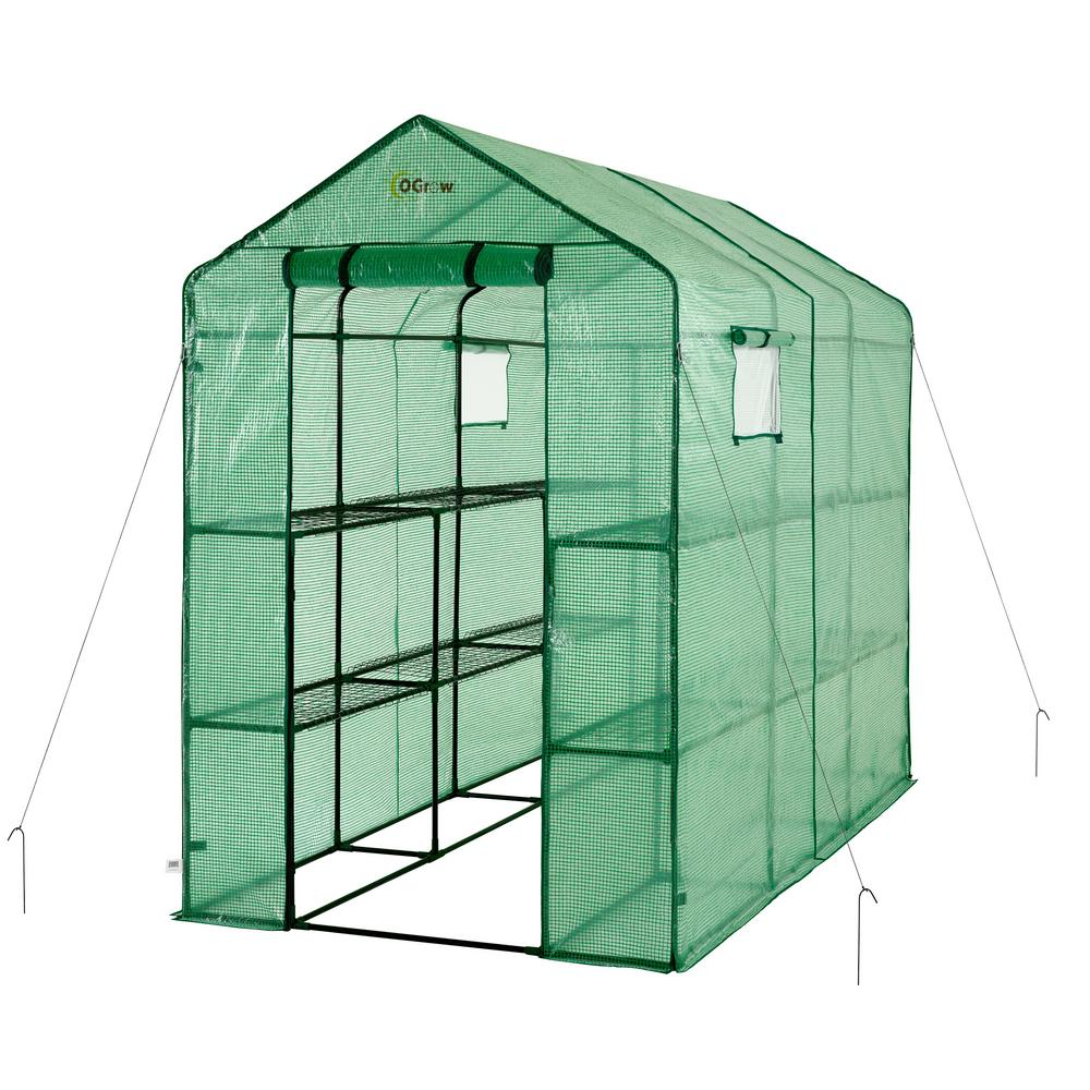 Ogrow 49 in. W x 98 in. D Extra-Large Heavy Duty Walk-In 2-Tier 12-Shelf Portable Lawn and Garden Greenhouse