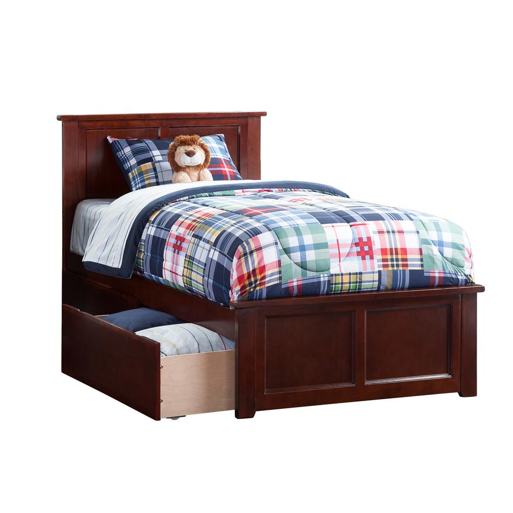 Atlantic Furniture Madison Walnut Twin Platform Bed With Matching Foot Board And 2 Urban Drawers