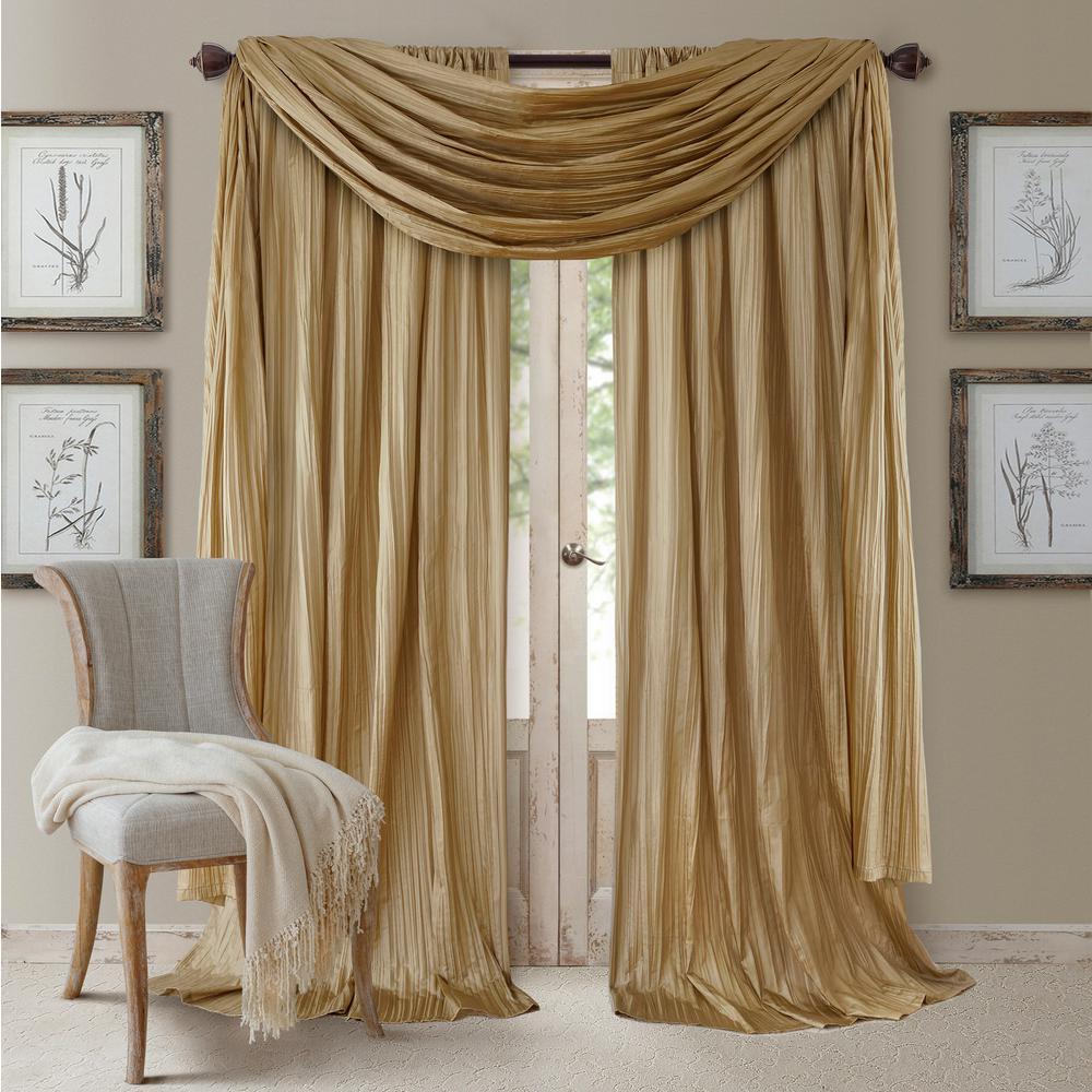 Elrene gold rod pocket 2 window curtain panel 52 in w x 84 in l and 1 scarf valance 52 in w x 216 in l 026865868432 the home depot